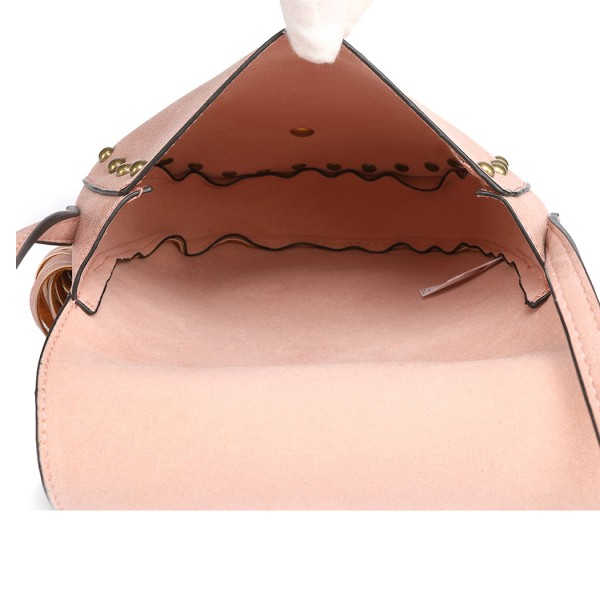 LT6816-MISS LULU SUEDE EFFECT TASSEL CROSS BODY BAG PINK