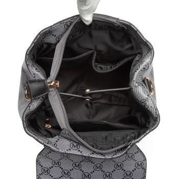 LT6817-MISS LULU PU LEATHER M PATTERN HOBO HANDBAG SHOULDER BAG BACKPACK BLACK