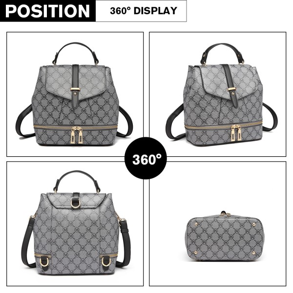 LT6817-MISS LULU PU LEATHER M PATTERN HOBO HANDBAG SHOULDER BAG BACKPACK BLACK