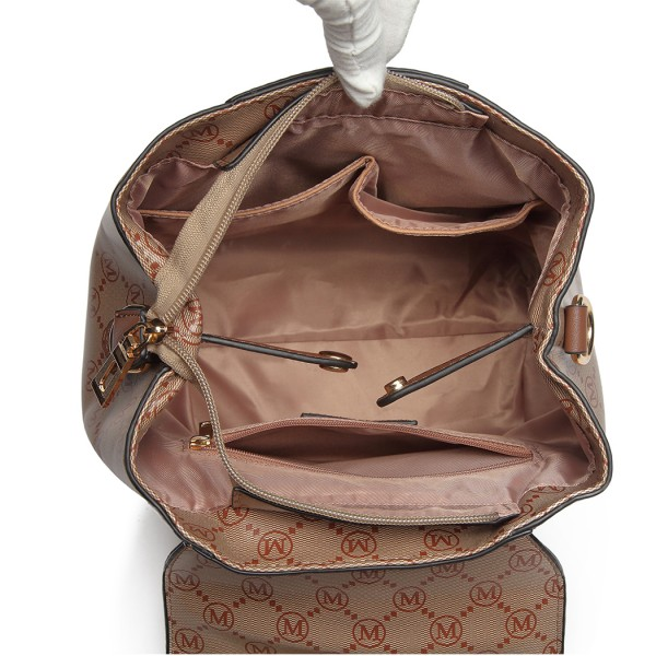 LT6817-MISS LULU PU LEATHER M PATTERN HOBO HANDBAG SHOULDER BAG BACKPACK BROWN