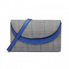LT6818 - MISS LULU HOUNDS-TOOTH AND LEATHER LOOK ACCENT CROSS BODY BAG - BLUE