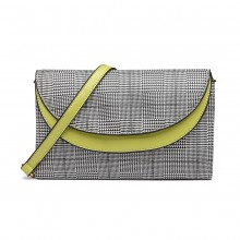 LT6818 - MISS LULU HOUNDS-TOOTH AND LEATHER LOOK ACCENT CROSS BODY BAG - GREEN