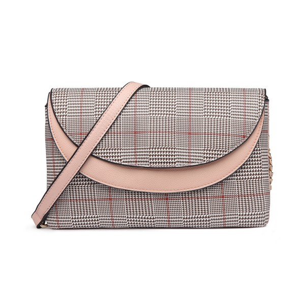 LT6818 - MISS LULU HOUNDS-TOOTH AND LEATHER LOOK ACCENT CROSS BODY BAG - PINK