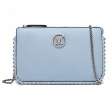 LT6819-MISS LULU PU LEATHER CHAIN AROUND CROSSBODY BAG BLUE
