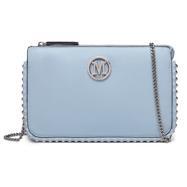 LT6819-MISS LULU PU LEATHER CHAIN AROUND CROSSBODY BAG BLUE