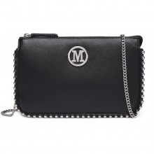 LT6819-MISS LULU PU LEATHER CHAIN AROUND CROSSBODY BAG BLACK