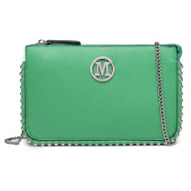 LT6819-MISS LULU PU LEATHER CHAIN AROUND CROSSBODY BAG GREEN