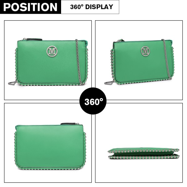 LT6819-MISS LULU PU LEATHER CHAIN AROUND CROSSBODY BAG GREEN