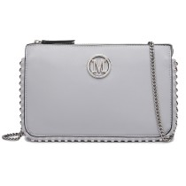 LT6819-MISS LULU PU LEATHER CHAIN AROUND CROSSBODY BAG GREY
