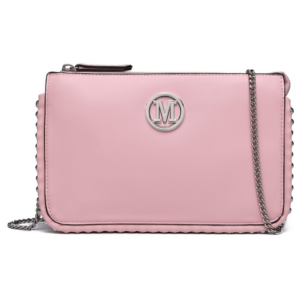 LT6819-MISS LULU PU LEATHER CHAIN AROUND CROSSBODY BAG PINK