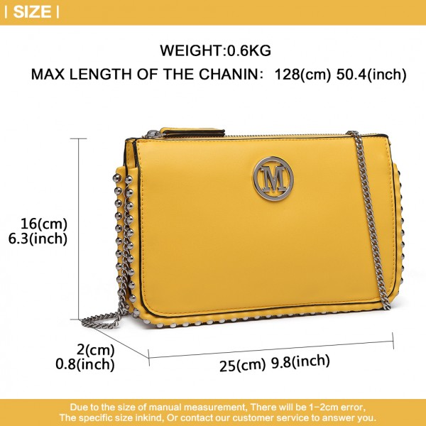 LT6819-MISS LULU PU LEATHER CHAIN AROUND CROSSBODY BAG YELLOW