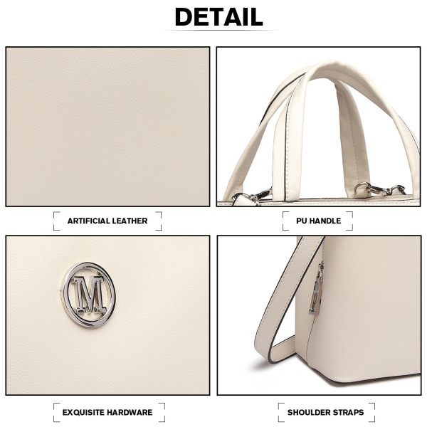 "LT6820 - MISS LULU PU LEATHER HANDBAG ""M"" METAL ORNAMENT SHOULDER BAG - BEIGE"