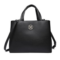 "LT6820 - MISS LULU PU LEATHER HANDBAG ""M"" METAL ORNAMENT SHOULDER BAG - BLACK"