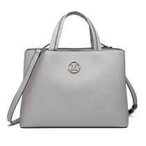 "LT6820 - MISS LULU PU LEATHER HANDBAG ""M"" METAL ORNAMENT SHOULDER BAG - GREY"