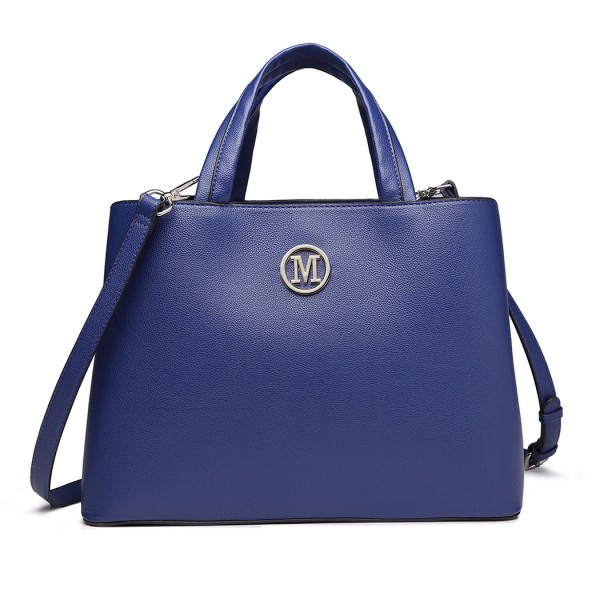 "LT6820 - MISS LULU PU LEATHER HANDBAG ""M"" METAL ORNAMENT SHOULDER BAG - NAVY"