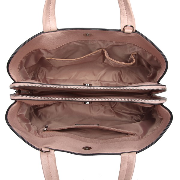 "LT6820 - MISS LULU PU LEATHER HANDBAG ""M"" METAL ORNAMENT SHOULDER BAG - PINK"