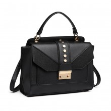 LT6821 - Miss Lulu Satchel Style PU Leather and Burlap Embellished Shoulder Bag - Black