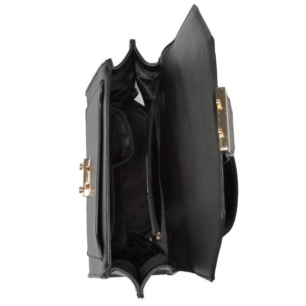 LT6821 - Miss Lulu Satchel Style PU Leather and Burlap Embellished Shoulder Bag - Black