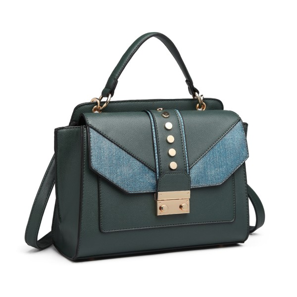 LT6821 - Miss Lulu Satchel Style PU Leather and Burlap Embellished Shoulder Bag - Green