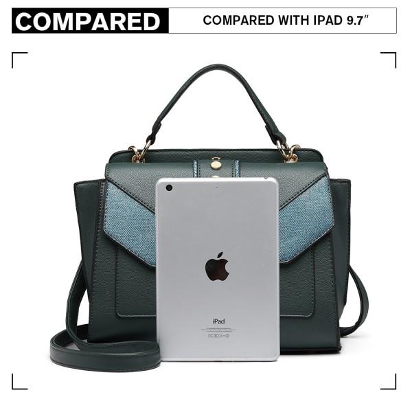 LT6821 - Miss Lulu Satchel Style PU Leather and Burlap Embellished Shoulder Bag - Green
