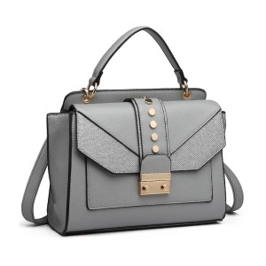 LT6821 - Miss Lulu Satchel Style PU Leather and Burlap Embellished Shoulder Bag - Grey