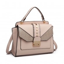 LT6821 - Miss Lulu Satchel Style PU Leather and Burlap Embellished Shoulder Bag - Pink