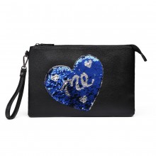 LT6822L-MISS LULU PU LEATHER SEQUIN HEART ME CLUTCH BAG BLACK