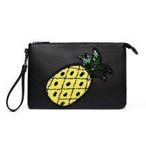 LT6822P-MISS LULU MISS LULU PU LEATER SEQIN PINEAPLE CLUTCH BAG BLACK