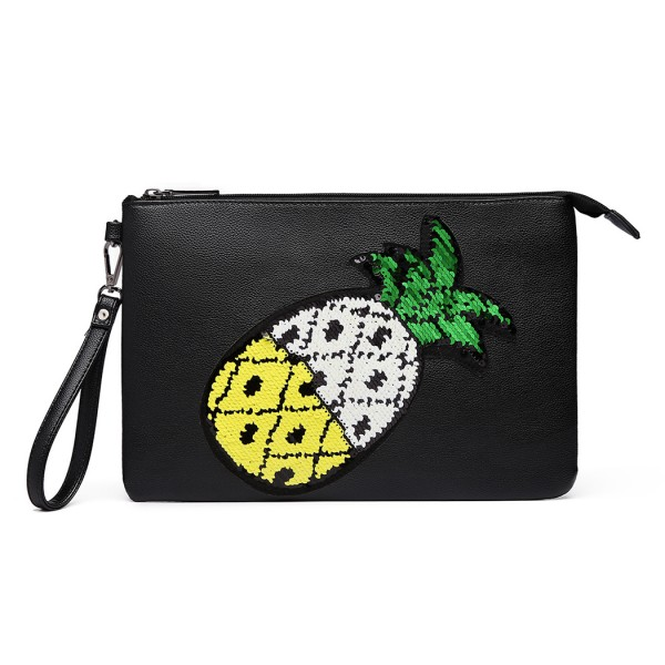LT6822P-MISS LULU MISS LULU PU LEATHER SEQUIN PINEAPPLE CLUTCH BAG BLACK