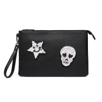 LT6822S-MISS LULU MISS LULU PU LEATER SEQIN SKULL CLUTCH BAG BLACK
