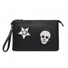LT6822S-MISS LULU MISS LULU PU LEATHER SEQUIN SKULL CLUTCH BAG BLACK