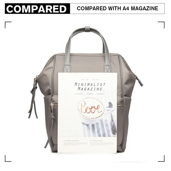 LT6840-MISS LULU PORTABLE WATERPROOF NYLON BACKPACK SCHOOL BAG GREY