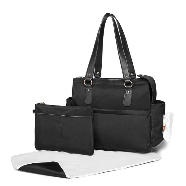 LT6852 - Miss Lulu 3 Piece Polyester Maternity Changing Bag - Black
