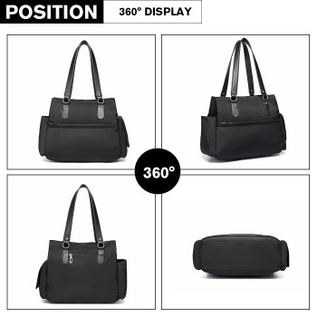 LT6852-MISS LULU POLYESTER 3 PCS SET MATERNITY CHANGING BAG SHOULDER BAG BLACK