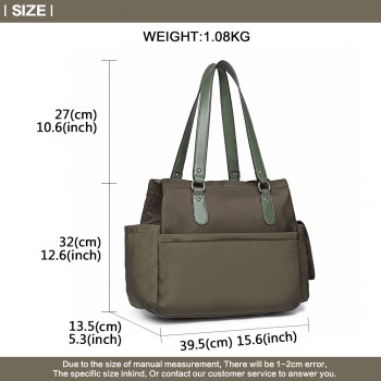 LT6852-MISS LULU POLYESTER 3 PCS SET MATERNITY CHANGING BAG SHOULDER BAG GREEN