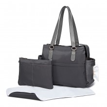 LT6852 - Miss Lulu 3 Piece Polyester Maternity Changing Bag - Grey