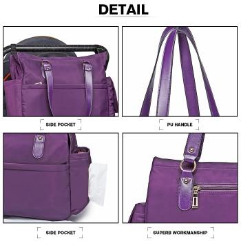 LT6852-MISS LULU POLYESTER 3 PCS SET MATERNITY CHANGING BAG SHOULDER BAG PURPLE
