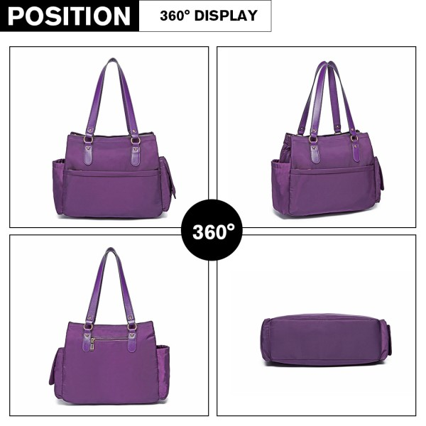 LT6852 - Miss Lulu 3 Piece Polyester Maternity Changing Bag - Purple