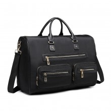 LT6853 -Miss Lulu Nylon Multi Pocket Hand Luggage Travel Bag - Black