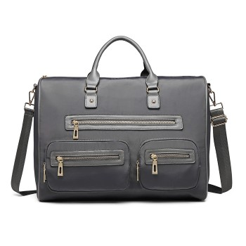 LT6853-MISS LULU NYLON TRAVEL BAG MULTI-POCKET LARGE HANDBAG SHOULDER BAG  GREY