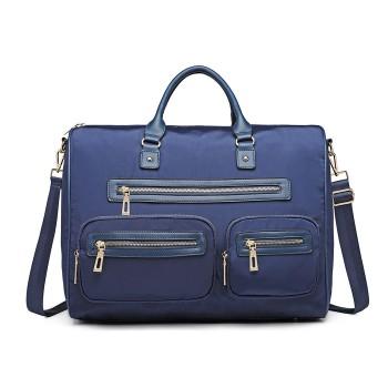LT6853-MISS LULU NYLON TRAVEL BAG MULTI-POCKET LARGE HANDBAG SHOULDER BAG  NAVY