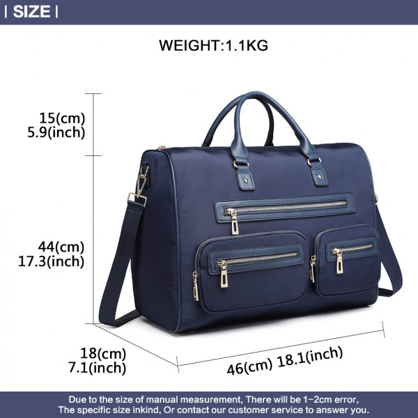 LT6853-MISS LULU NYLON TRAVEL BAG MULTI-POCKET LARGE HANDBAG SHOULDER BAG  NAVY