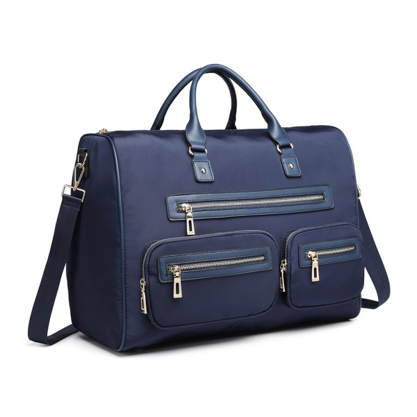 LT6853 -Miss Lulu Nylon Multi Pocket Hand Luggage Travel Bag - Navy