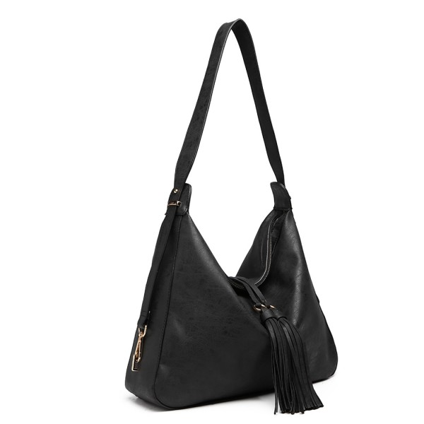 LT6854 - Miss Lulu Tassel Slouchy Hobo Style Shoulder Bag - Black
