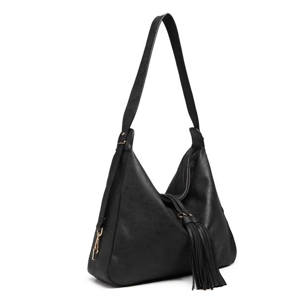 LT6854-MISS LULU TASSEL SLOUCHY HOBO STYLE HANDBAG SHOULDER BAG BLACK