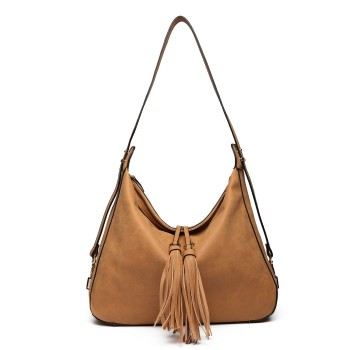 LT6854-MISS LULU TASSEL SLOUCHY HOBO STYLE HANDBAG SHOULDER BAG BROWN