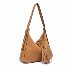 LT6854 - Miss Lulu Tassel Slouchy Hobo Style Shoulder Bag - Brown