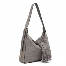 LT6854 - Miss Lulu Tassel Slouchy Hobo Style Shoulder Bag - Grey