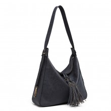 LT6854 - Miss Lulu Tassel Slouchy Hobo Style Shoulder Bag - Navy
