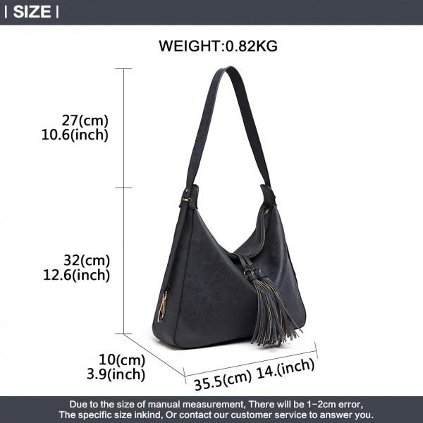 LT6854 - Miss Lulu Tassel Slouchy Hobo Style Shoulder Bag - Navy